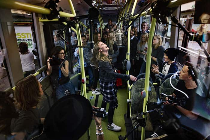 Zara Larsson performs new song in a video recorded on Gothenburg's electric bus route