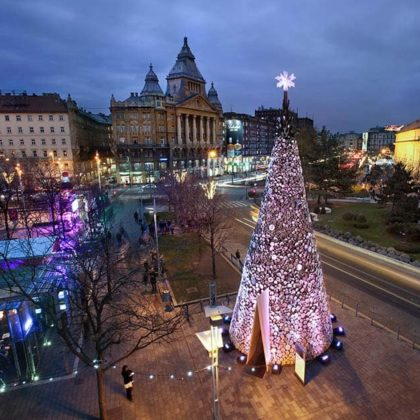 Hello Wood redefines the concept of the Christmas tree in London, Manchester and Budapest
