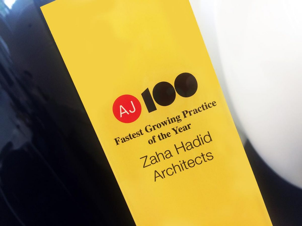 Zaha Hadid Architects named 'Fastest Growing Practice' in this year's AJ100