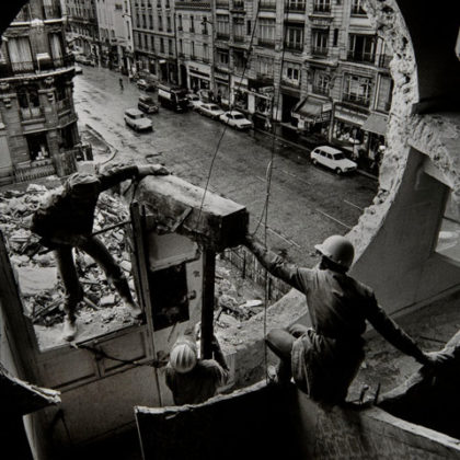 Hole in the wall gang … work on Gordon Matta-Clark's Conical Intersect, 1975.