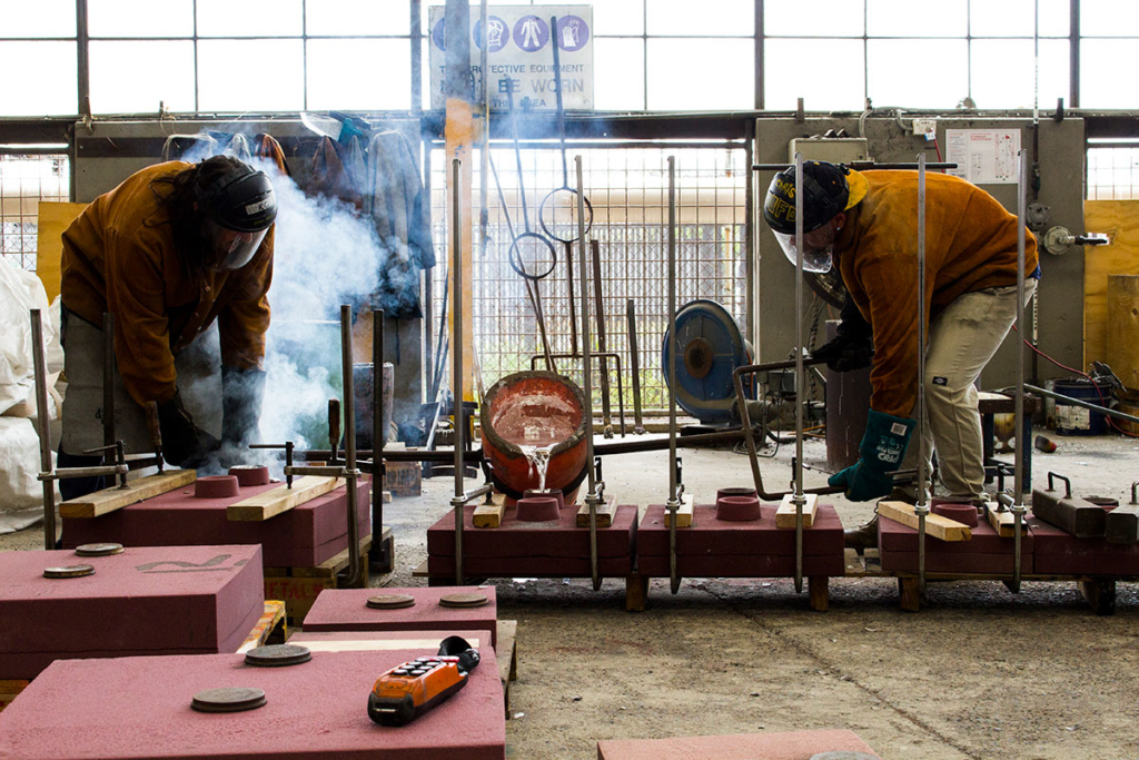 UAP's Brisbane workshop and foundry during a metal pour
