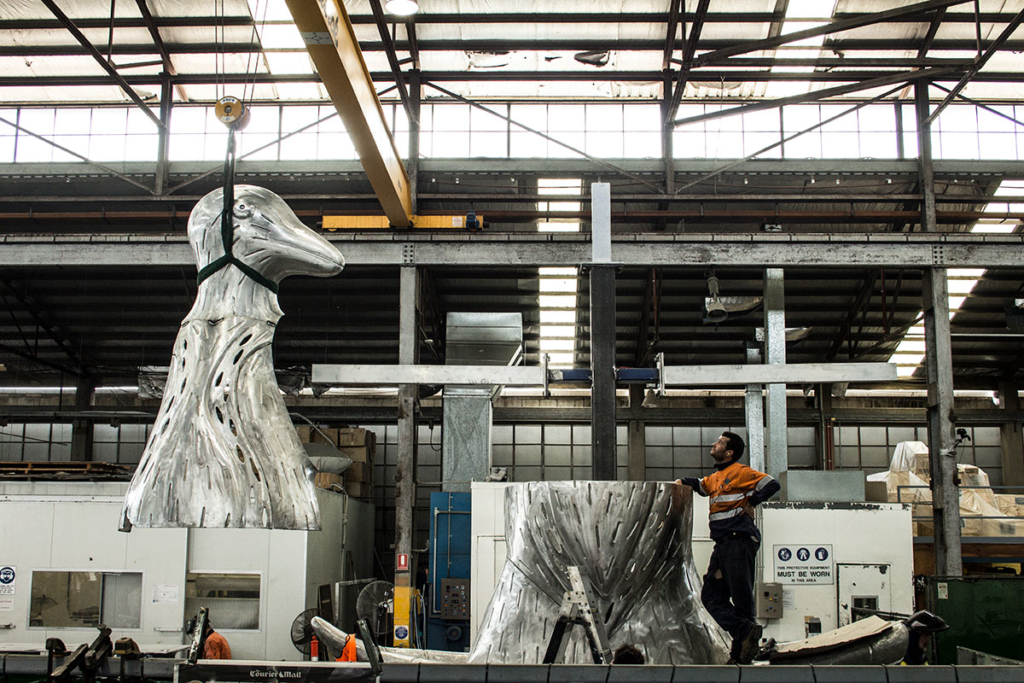 UAP's Brisbane workshop during the fabrication and assembly of Laurel Nannup's 'First Contact' (2016)