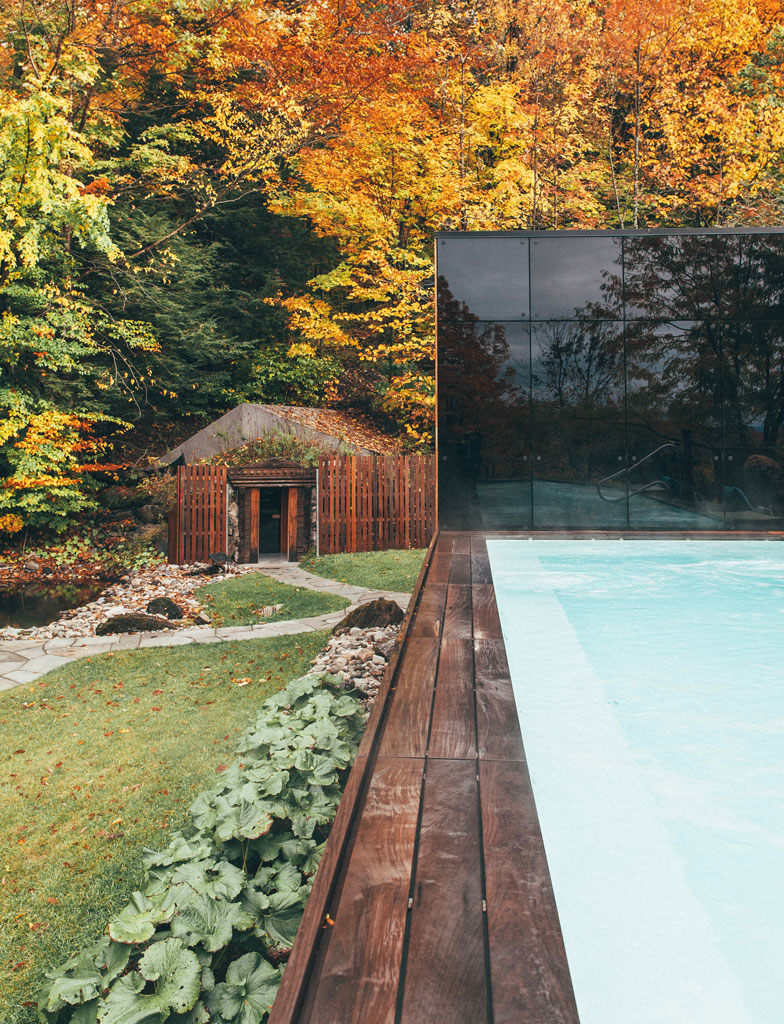 The Pavillon Ouest: a New Relaxation Space at BALNEA spa + réserve thermale Bromont, Canada