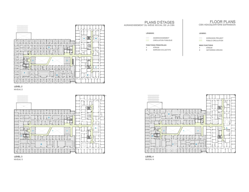 Plans of Expansion of the Headquarters of the Confédération des syndicats nationaux (CSN)