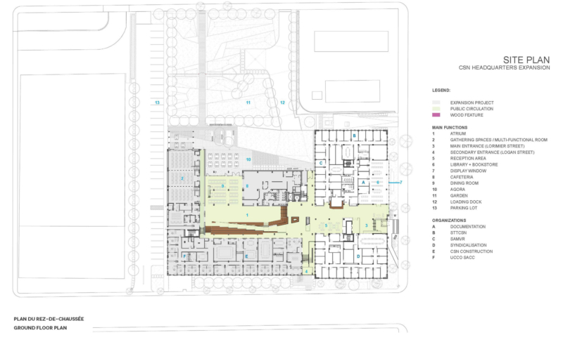 Site Plan of Expansion of the Headquarters of the Confédération des syndicats nationaux (CSN)