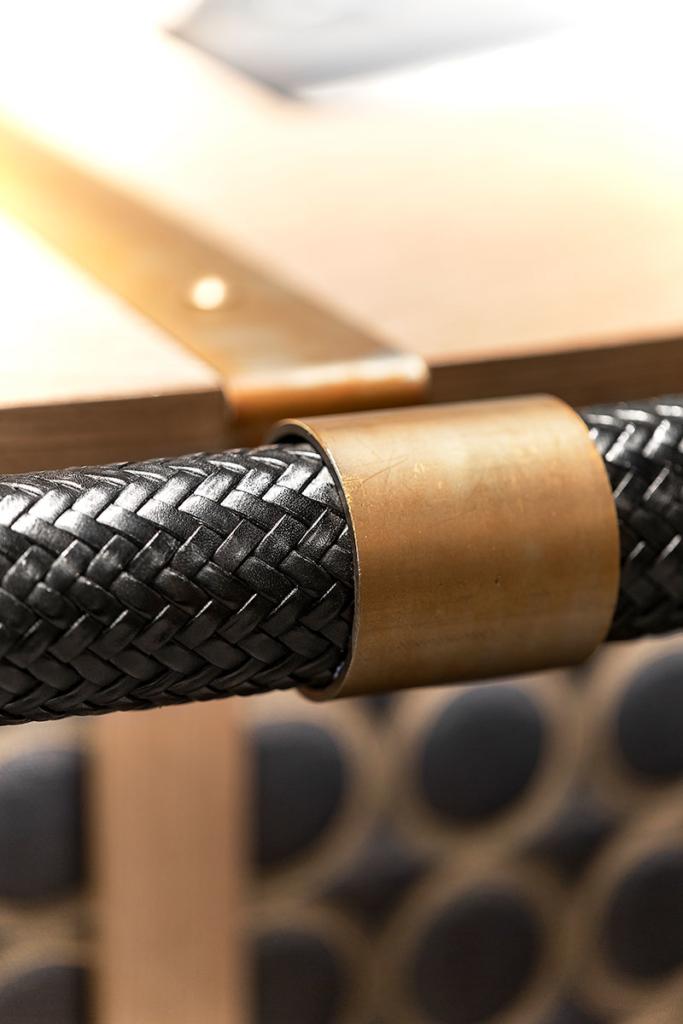 Diamond Bar leather-wrapped drink rail - Ben Bridge Jewelers, Seattle