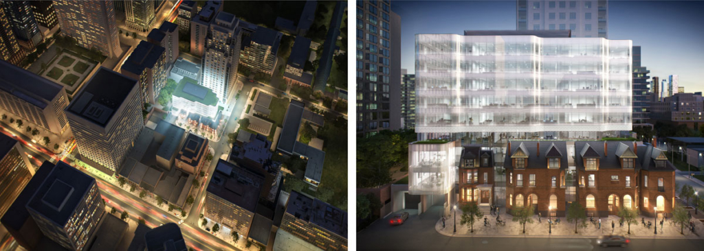 Arial view rendering and Elevation rendering - 7 St. Thomas by Hariri Pontarini Architects