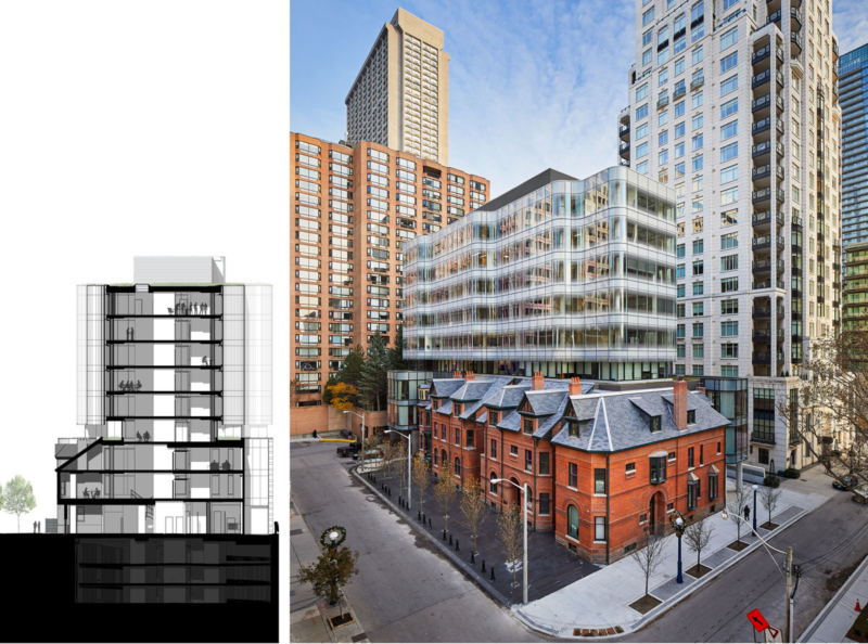 Section and view looking south-east - 7 St. Thomas by Hariri Pontarini Architects