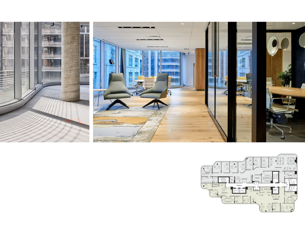 Interior details and office floor plan