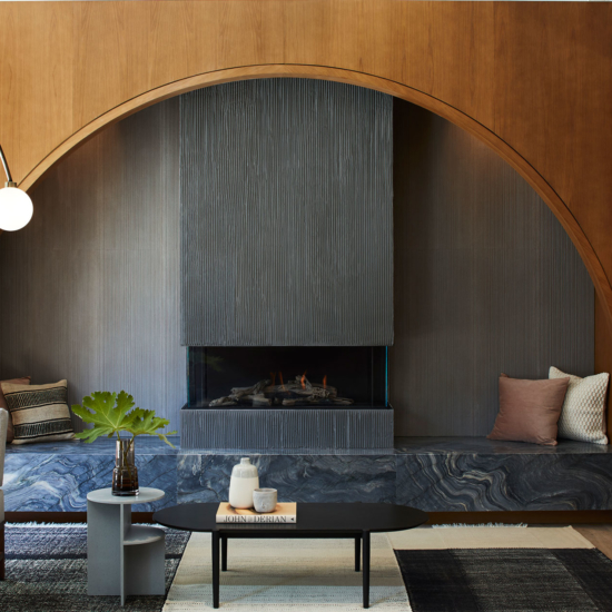 Hotel lobby living room with fireplace