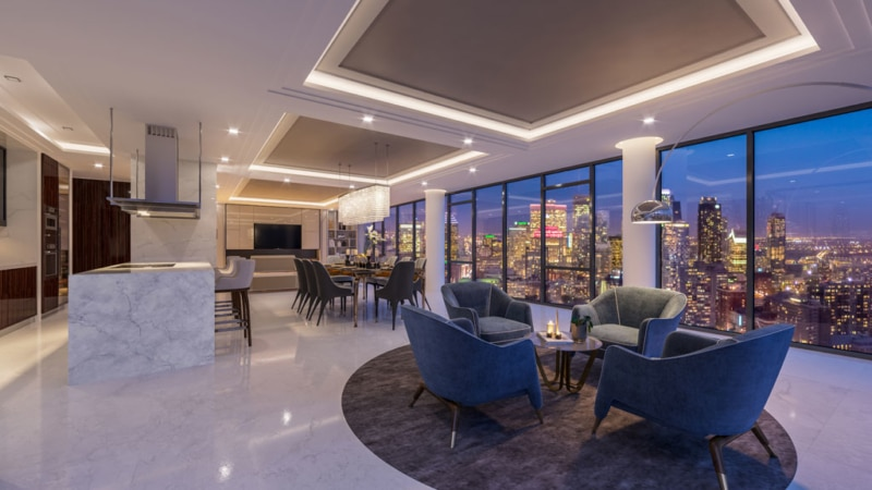 Interior view of a penthouse