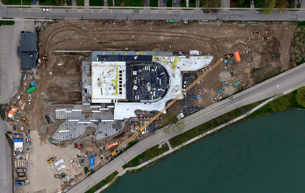 Aerial View of Construction, Topping-Off Ceremony at the Tom Patterson Theatre for the Stratford Festival