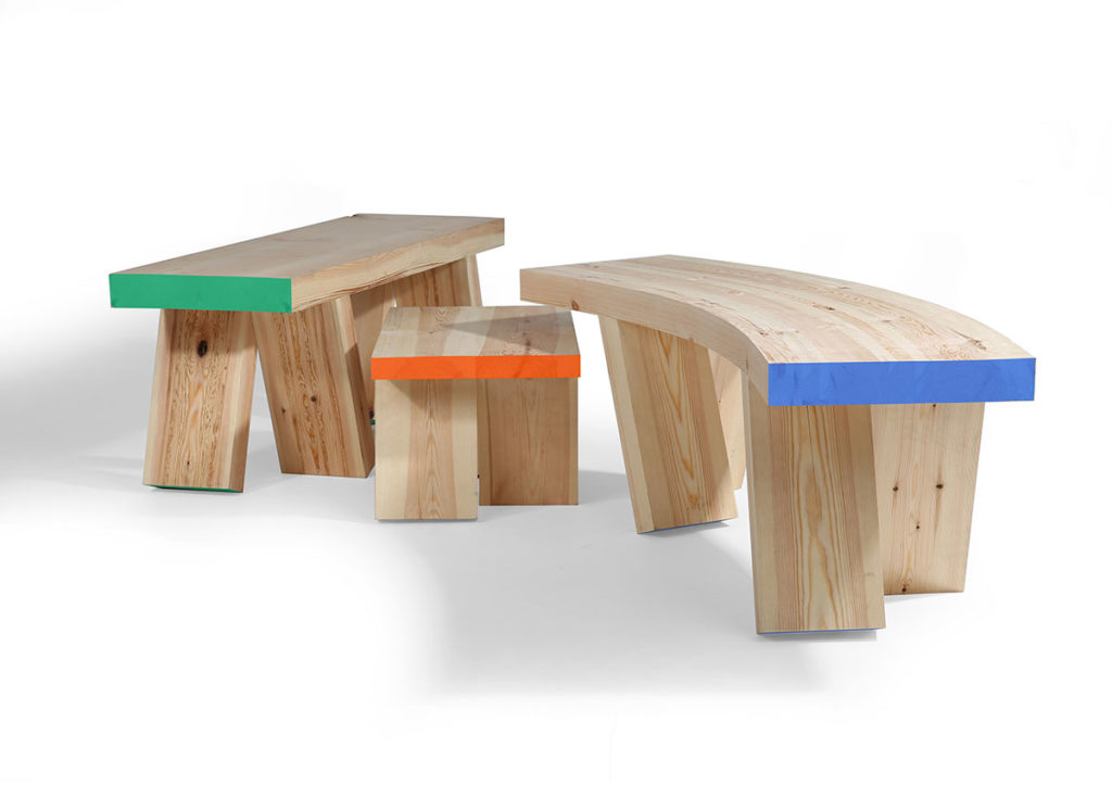 Winner of the second prize at the Pure Talents Contest 2019: The Bench Gang by Christian Cowper is a family of three light-hearted and dynamic benches. Made of pine, Bench Gang is meant to visualise the simple qualities of fun and play and bring the humble bench to life!