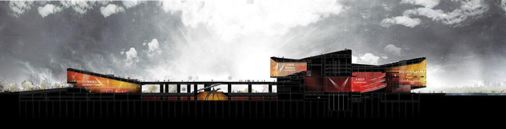 Section, Hangzhou Yuhang Opera by Henning Larsen