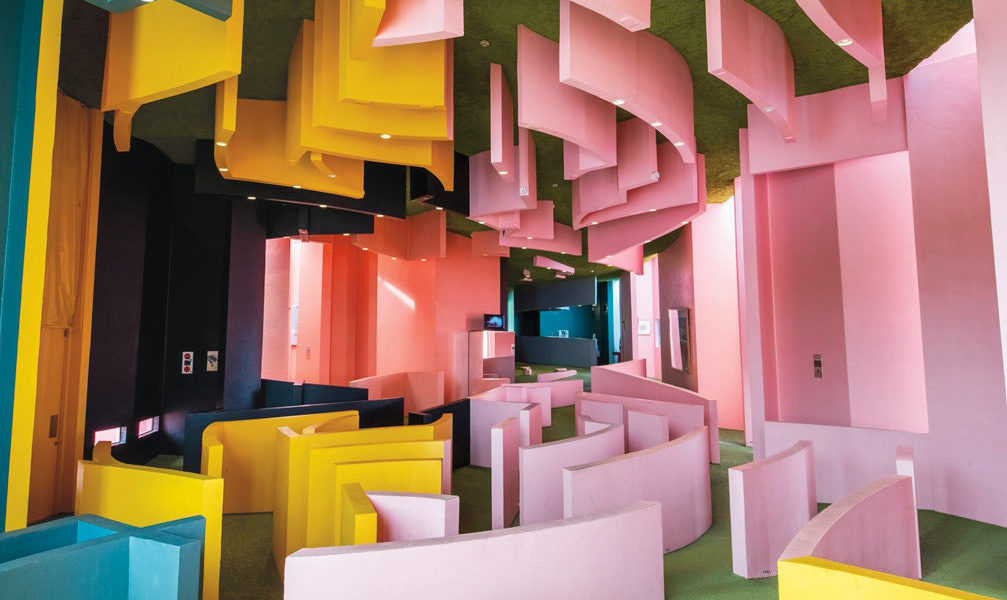 The interior of the Reversible Destiny Office — Yoro, part of a four-acre park created by the artists Arakawa and Madeline Gins in Gifu Prefecture, Japan