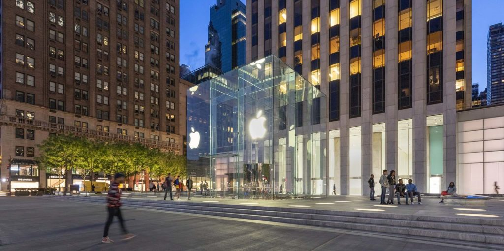 Apple reopened its landmark Fifth Avenue store, located on the corner of Central Park