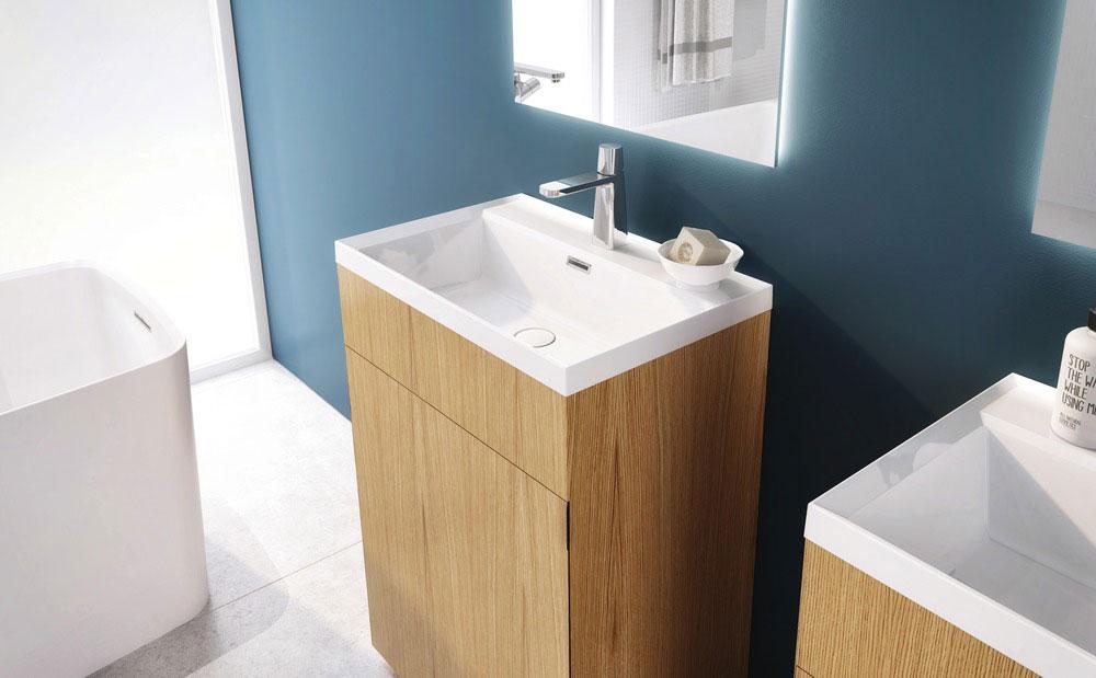 LAB 2 Bathtub & STELLÉ pedestal (Oak Natural) + LAB Drop-in Lavatory