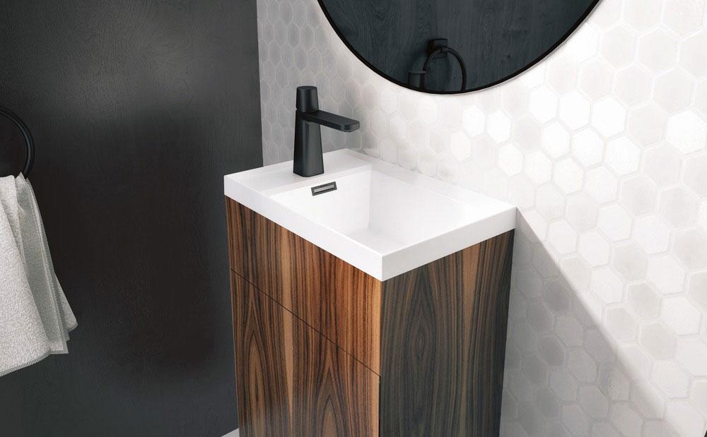 STELLÉ pedestal (Walnut Natural) + LAB Drop-in Lavatory