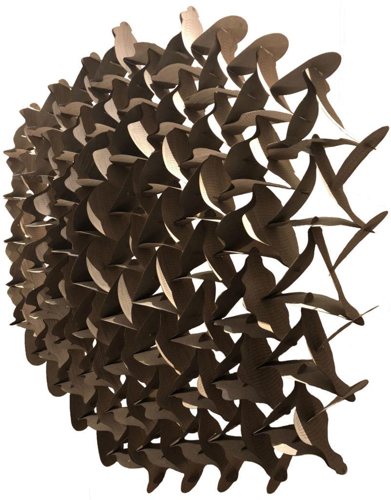 Cempazuchitl, wood tension sculpture