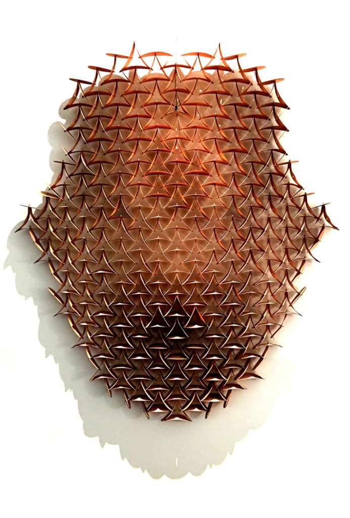 xayacatl (rostro), wood tension sculpture