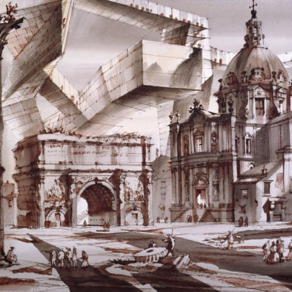 Architectural capriccio, Roman Forum or Two worlds No. 1, film stage design project, St. Petersburg