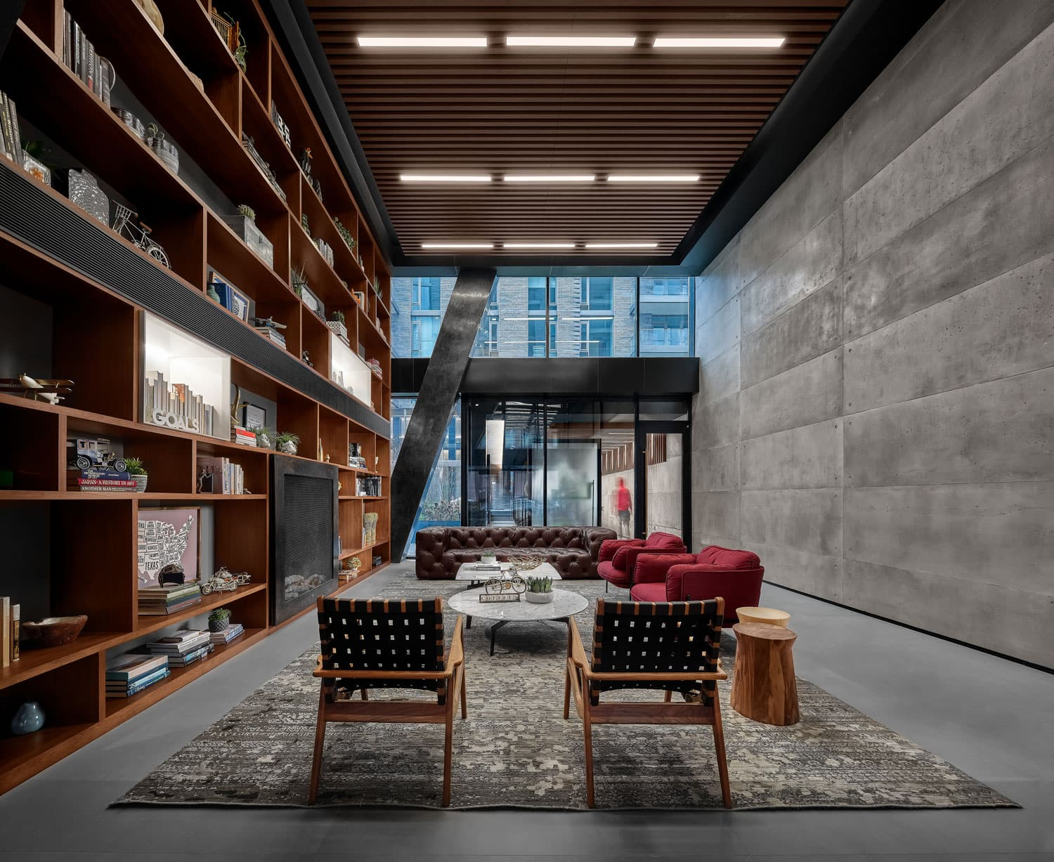 Sitting area and library