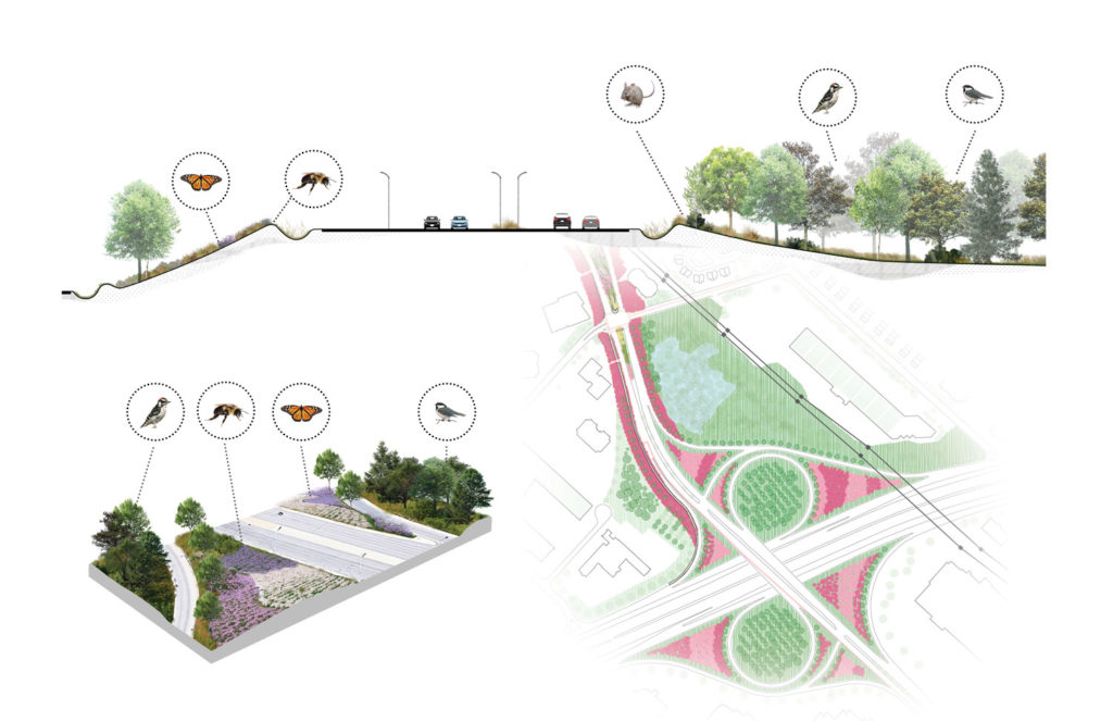 Section, schematic concept, and site plan, Cavendish Boulevard and Highway 40 Interchange
