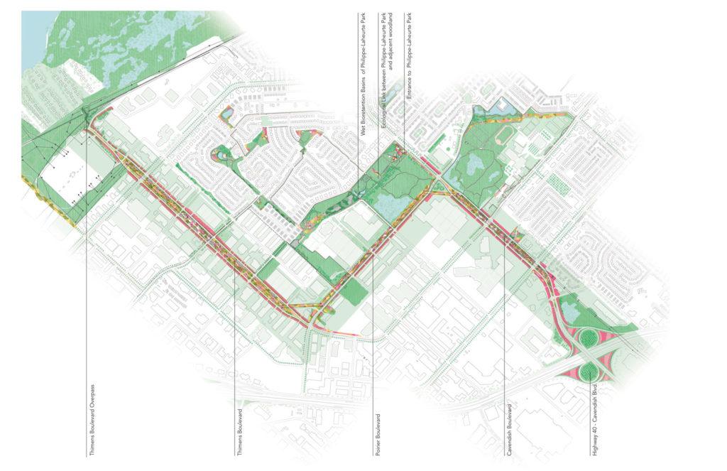 Main intervention sites along the future Biodiversity Corridor