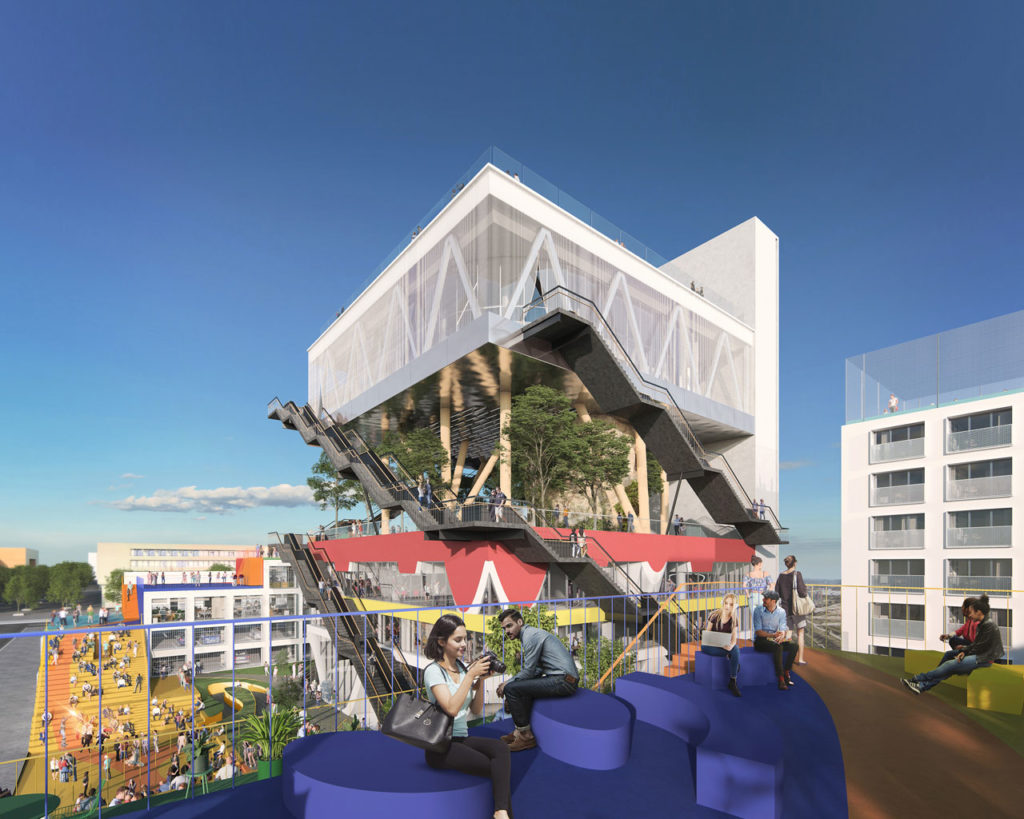 The transformation will convert the former Expo Pavilion into a co-working office building, and two new buildings will be added on the space surrounding the pavilion