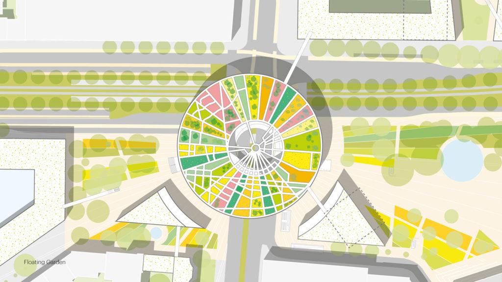 MVRDV masterplan for Ettlinger Tor in Karlsruhe: a reflective floating garden counterpoints the absolutist castle