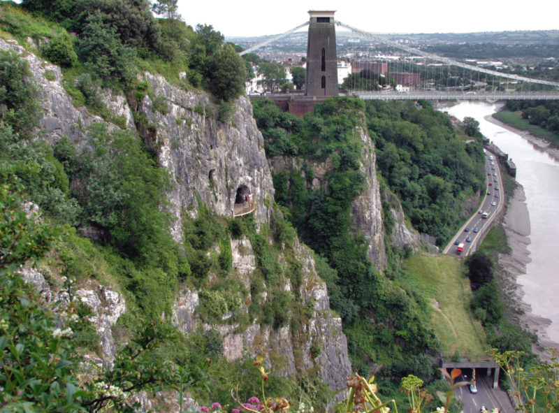 Avon Gorge and Clifton Suspension Bridge, looking towards the city of Bristol.
