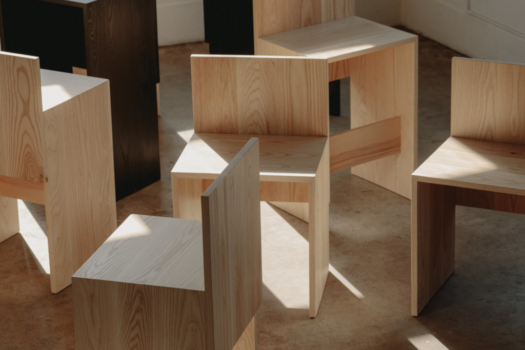 Union Wood Co, and designer Alyssa Lewis of Studio Block, create a new line of seating called the Slab Collection